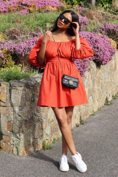 Burnt orange puff-sleeved poplin dress, Poplin Dress poplin dress outfit, poplin dress outfit ideas, poplin dress summer