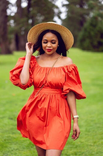 Puff-sleeved Burnt Orange Poplin Dress