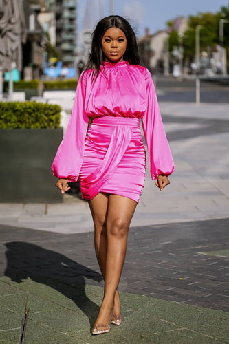 Pink Satin Blouson Dress - SETSOFRAN