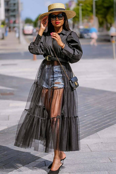 SETSOFRAN Black Shirt Tulle Shirt Dress available Plus Size