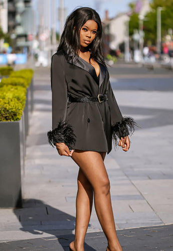 Black Feather Trim Blazer pose - SETSOFRAN