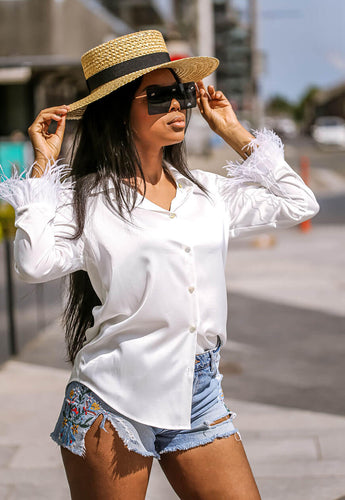 Feather Trim White Blouse side - SETSOFRAN