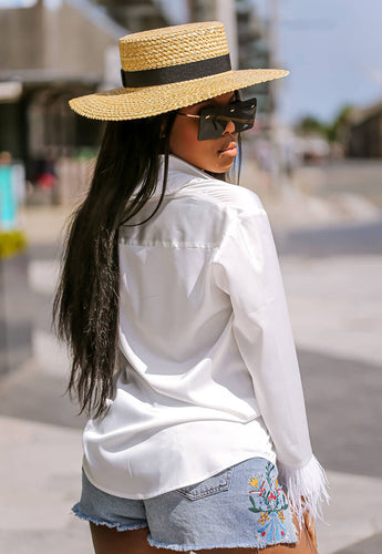 Feather Trim White Blouse back - SETSOFRAN