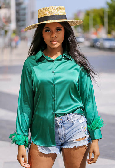 Feather Trim Green Blouse main - SETSOFRAN
