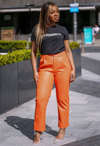 Orange Faux Leather Pants cafe - SETSOFRAN