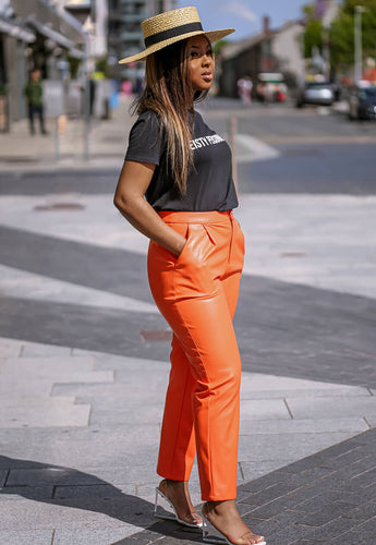 Orange Faux Leather Pants city - SETSOFRAN
