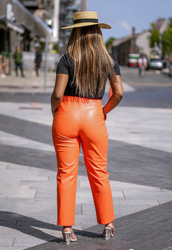 Orange Faux Leather Pants back - SETSOFRAN