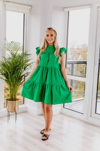 SETSOFRAN Green Poplin Dress front