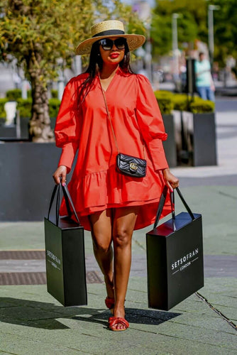 Red Poplin Dress - SETSOFRAN main image with bags