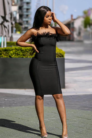 Black Feather Strapless Bandage Dress Main - SETSOFRAN