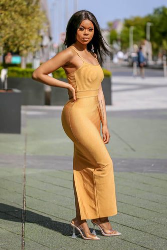 Mustard Ribbed Strappy Maxi Bandage Dress side shot- SETSOFRAN