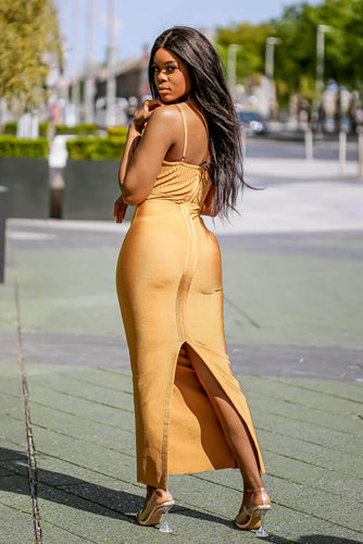 Mustard Ribbed Strappy Maxi Bandage Dress back - SETSOFRAN
