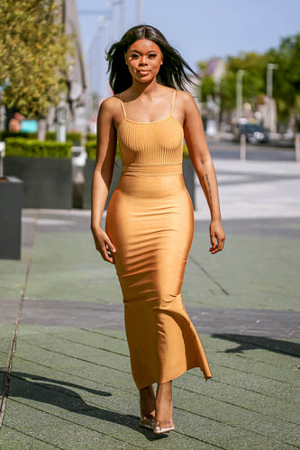 Mustard Ribbed Strappy Maxi Bandage Dress walk- SETSOFRAN