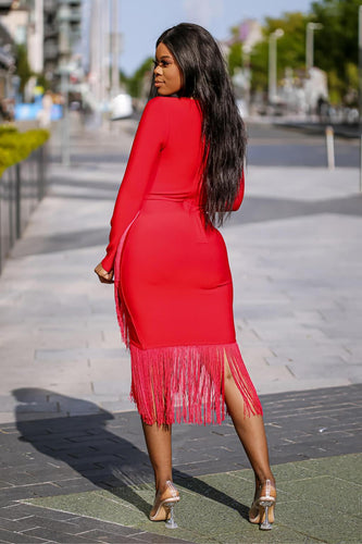 Red Fringe Bandage Dress - SETSOFRAN
