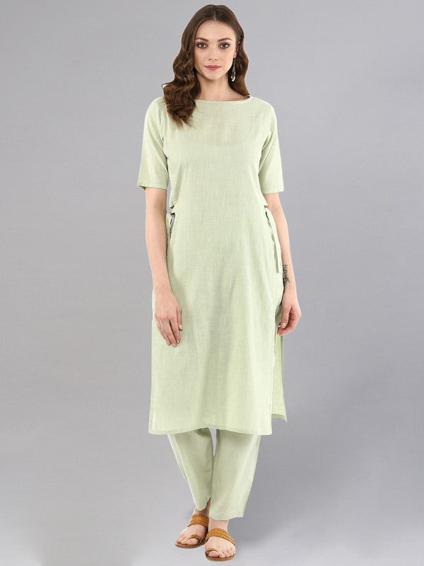 Idalia Sage Green Straight Kurta With Pants