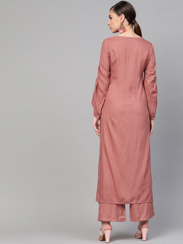 Idalia Rose Gold Embroided Straight Kurta With Palazzo Pants
