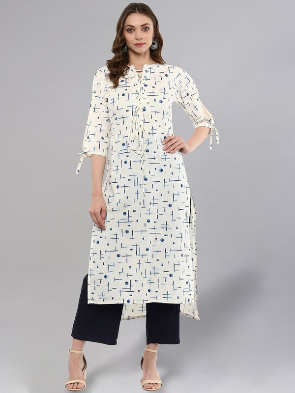 Idalia White Printed High-low Kurta