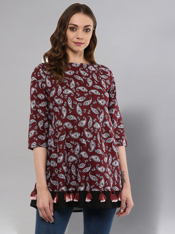 Idalia Maroon Umbrella Cut Tunic