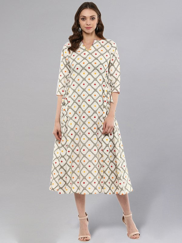 Idalia Off White Printed Flared Kurta