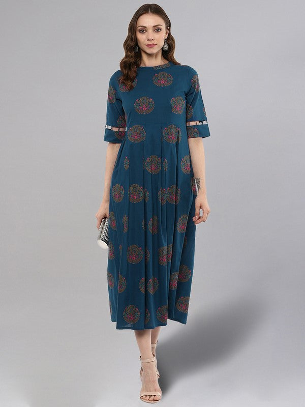 Idalia Blue Box Pleated Kurta