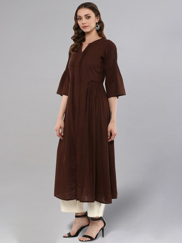 Idalia Coffe Flared Kurta With Front Slit