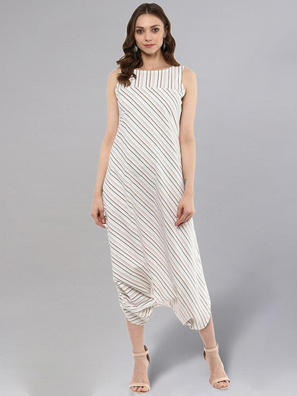 Idalia Off White Striped Dhoti Jumpsuit