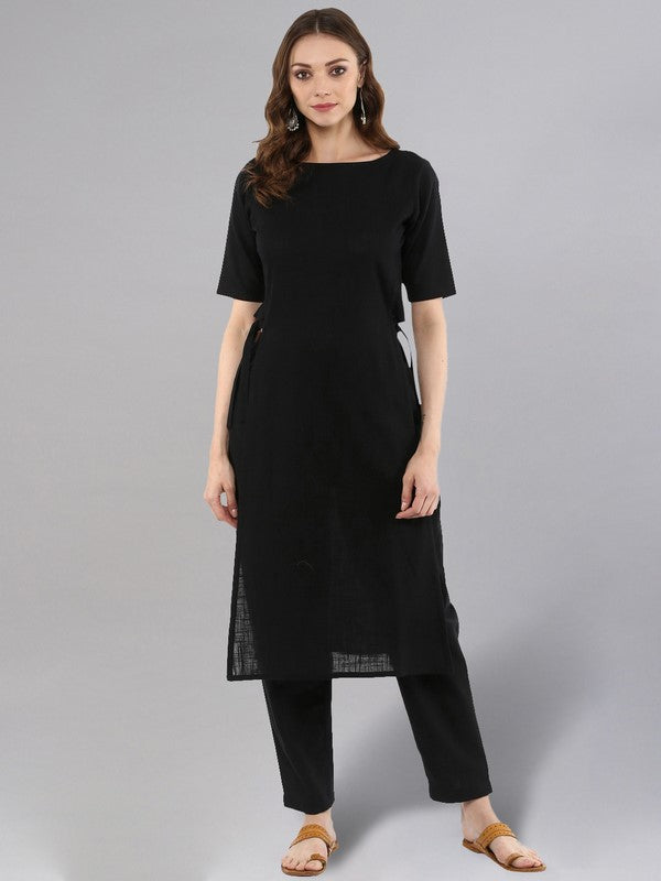 Idalia Black Straight Kurta With Pants