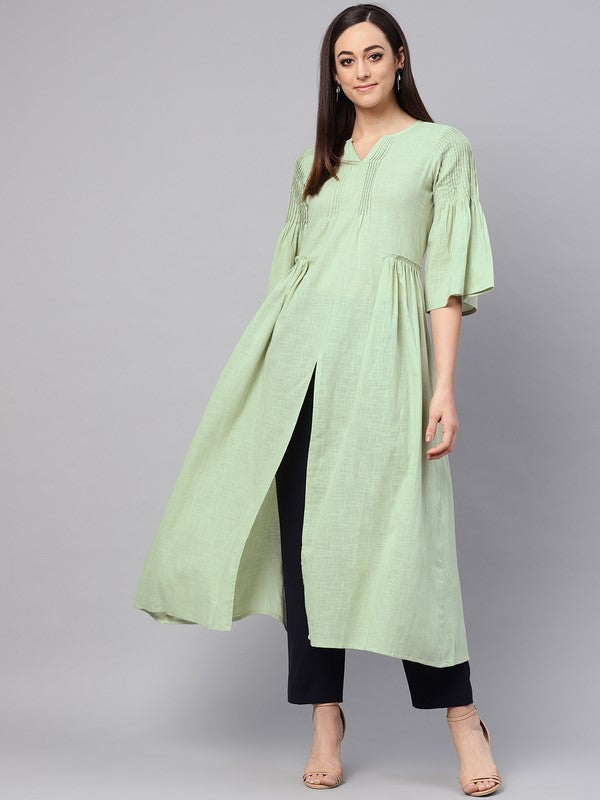 Idalia Sage Green Flared Kurta