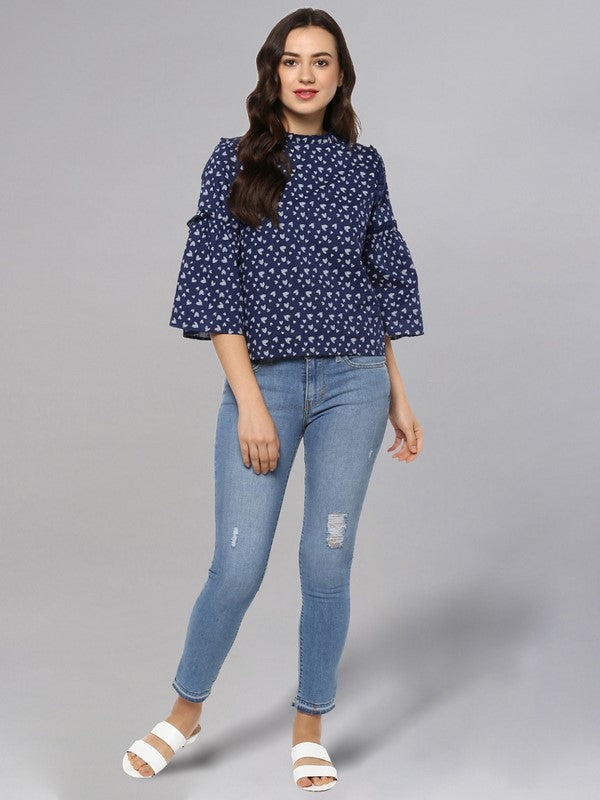 Idalia Navy Blue Printed Top