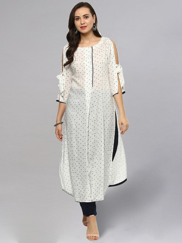 Idalia Printed White Straight Kurta