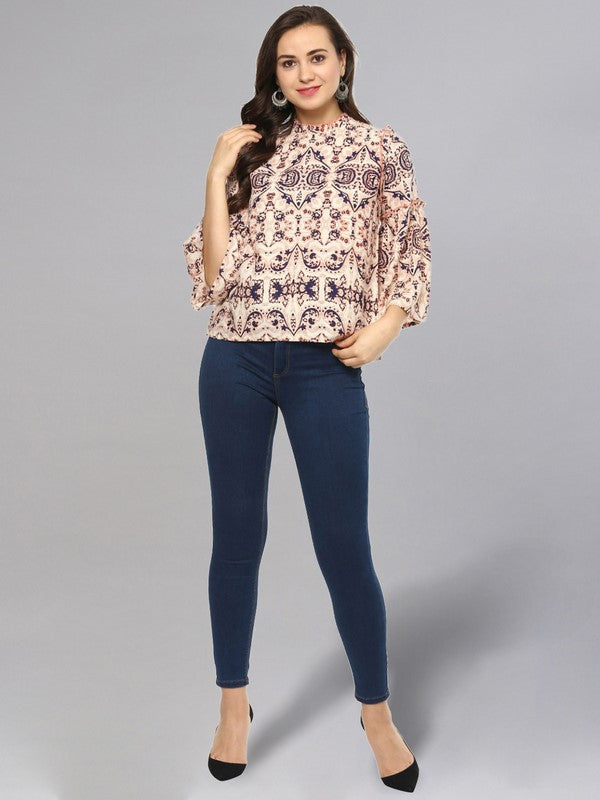 Idalia Multi Color Damask Print Top