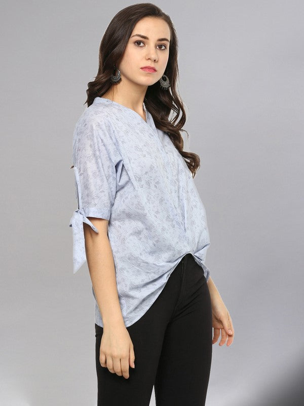 Idalia Sky Blue Printed Top