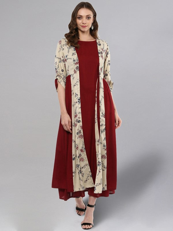 Idalia Maroon Printed Layered Cream Shrug