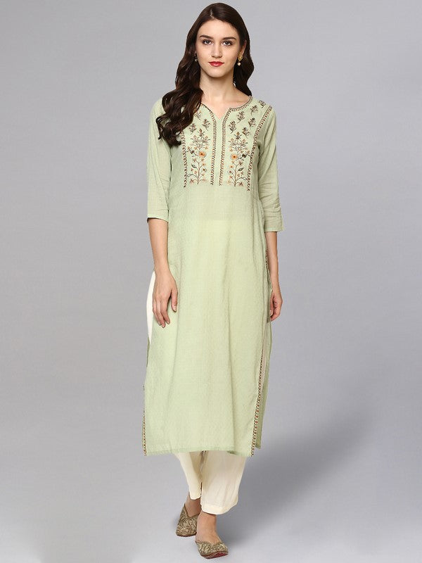 Idalia Sage Green Embroidered Kurta