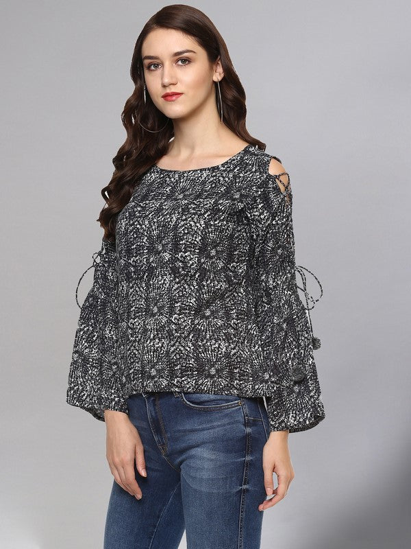 Idalia Grey & Black Printed Top