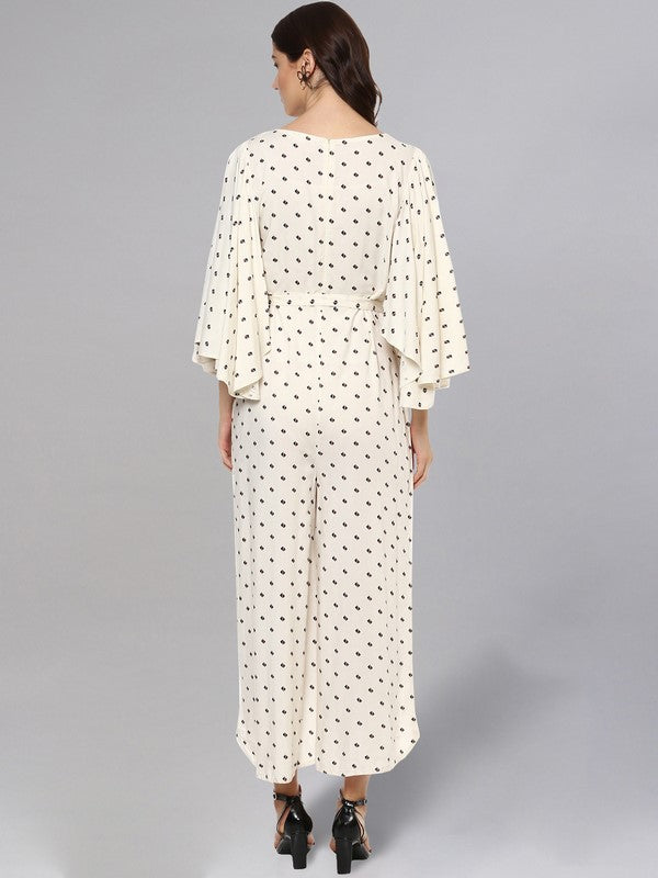 Idalia Cream Printed Jumpsuit