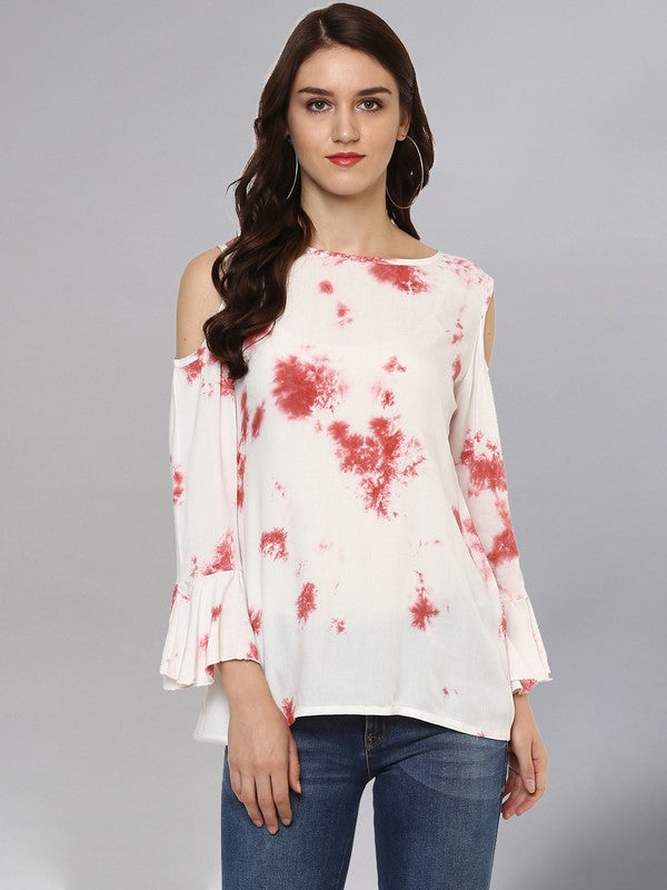 Idalia Off White Tie Dye Print Top