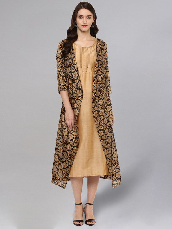 Idalia Beige And Black Solid Kurta With Printed Jacket