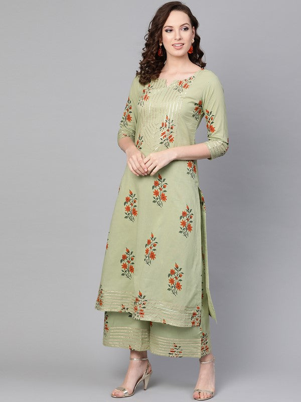 Idalia Sage Green Printed Cotton Kurta Set