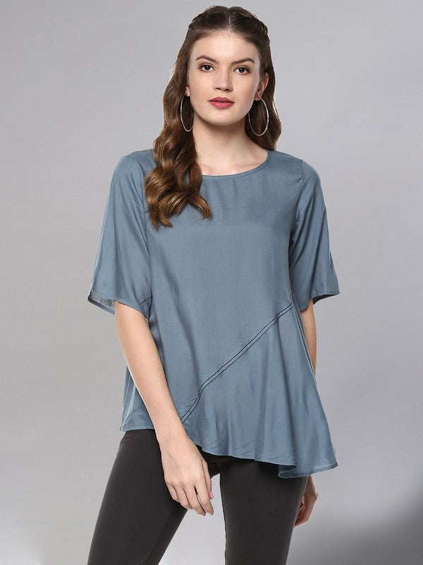 Idalia Grey Asymmetric Top