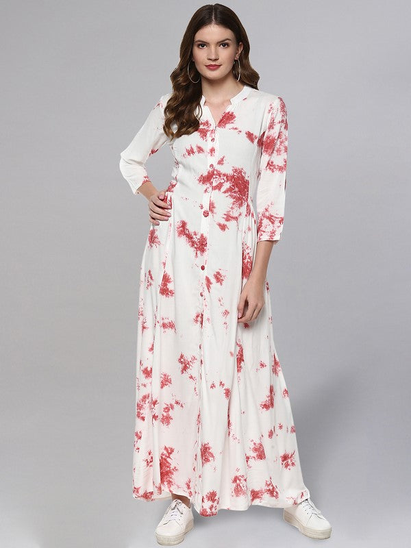Idalia Off White And Pink Tie Dye Print Kurta