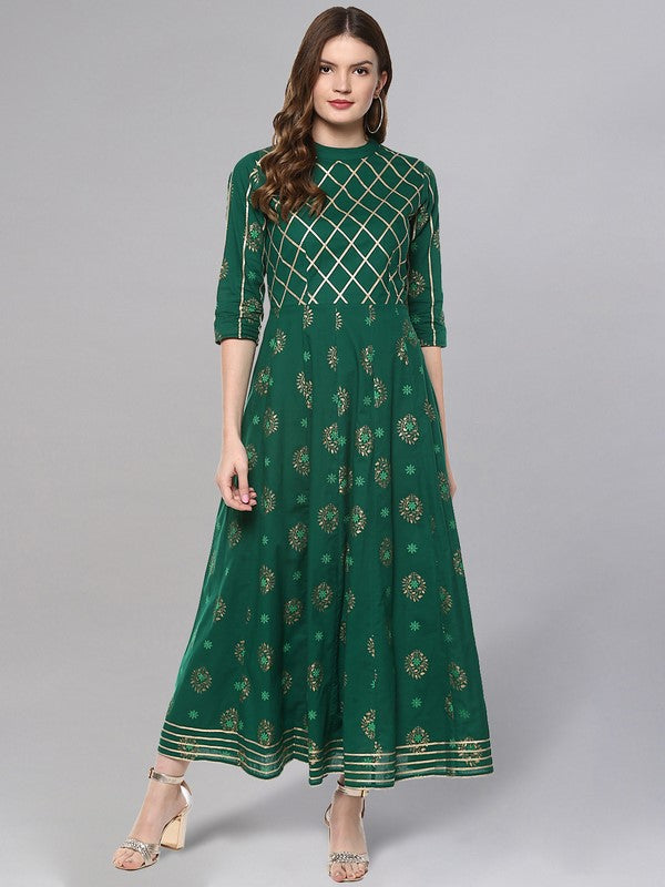 Idalia Gold Print Dark Green Anarkali Kurta