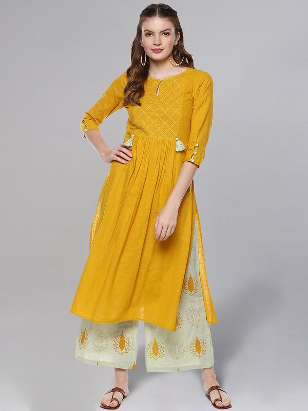 Idalia Mustard And Sage Green Kurta Set