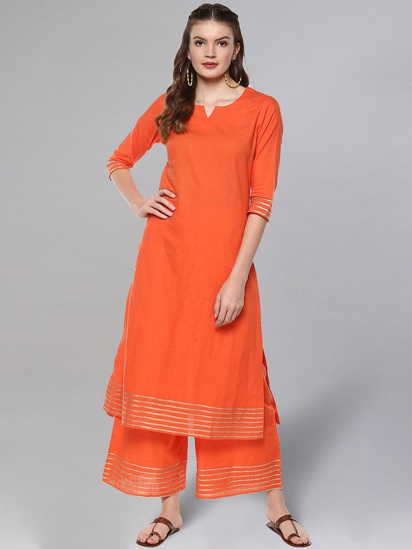 Idalia Peach Kurta Set With Brown Printed Dupatta