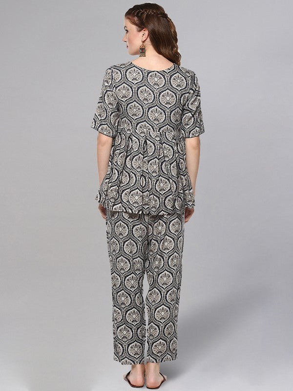 Idalia Grey & Blue Printed Short Kurta Set