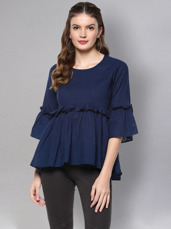 Idalia Navy Blue Flared Top