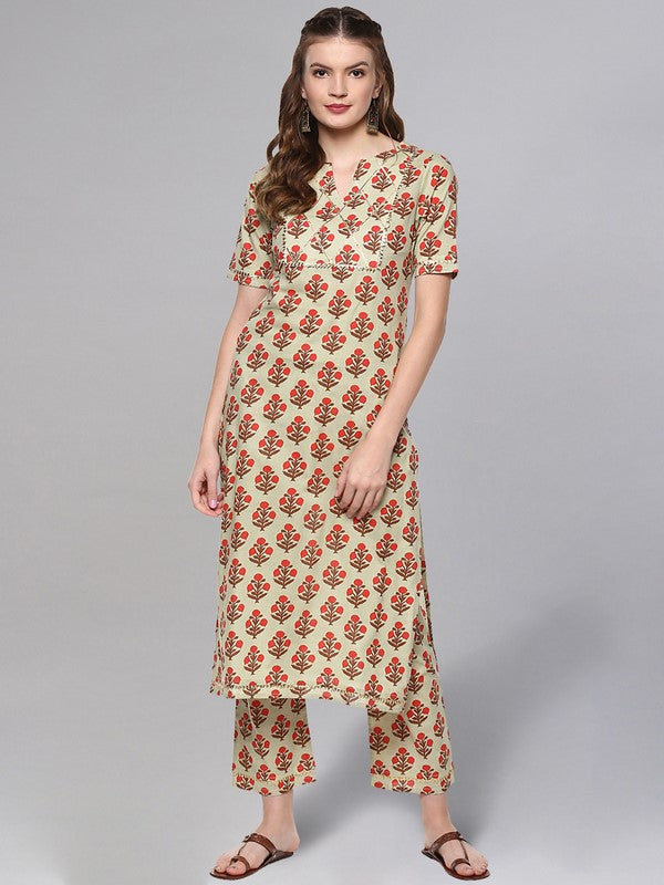 Idalia Sage Green Printed Kurta Set