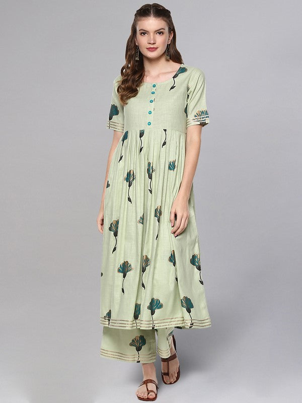 Idalia Sage Green Printed Flared Kurta Set