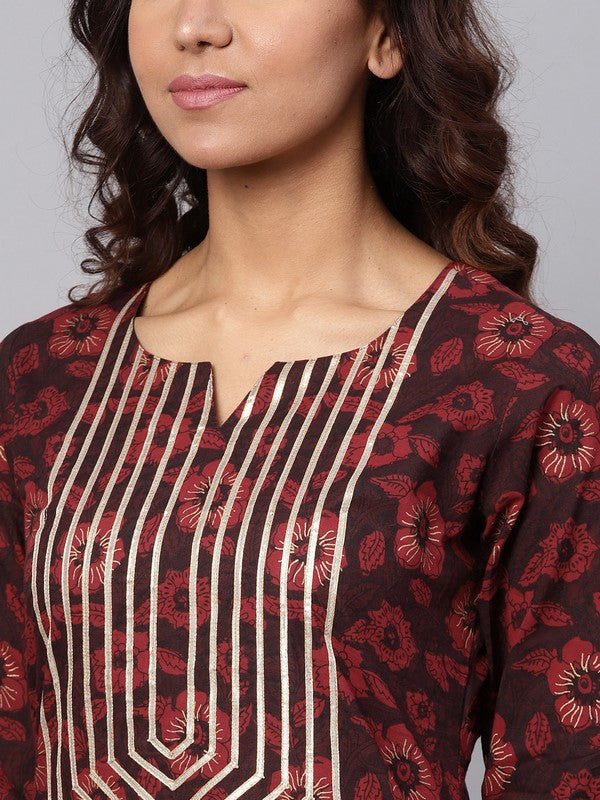 Idalia Maroon Printed Cotton Kurta Set
