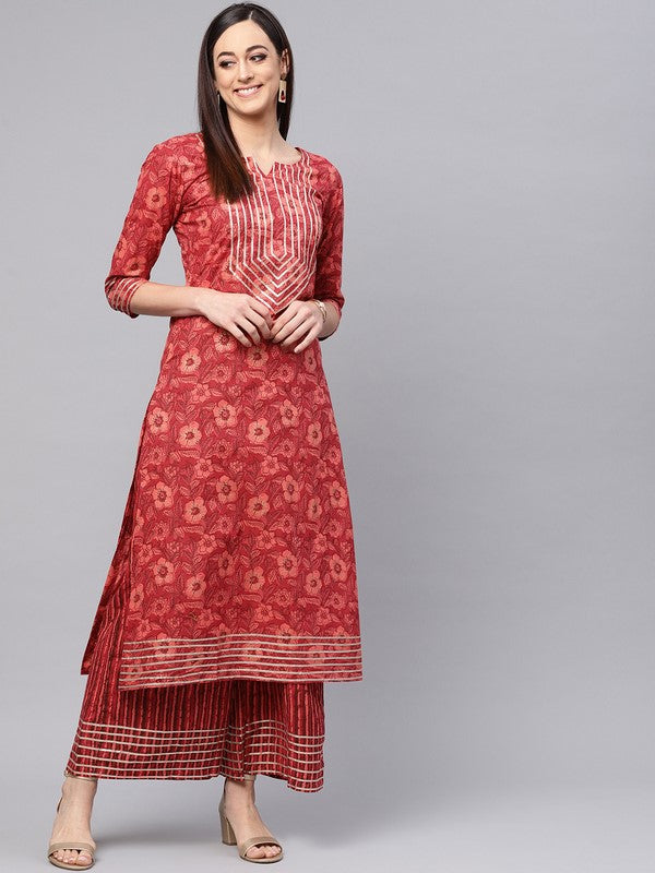 Idalia Orange Printed Cotton Kurta Set
